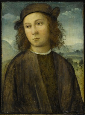 Agnolo+di+Domenico+del+Mazziere,+formerly+known+as+the+Master+of+Santo+Spirito+Portrait+of+a+boy,+half+length,+in+a+landscape,+dressed+in+black+robes+and+cap+oil+on+panel+