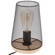 Lampe noire en métal & bois H23 10€