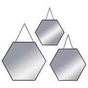 Miroir hexagone noir en métal X3 20 24 29 12€
